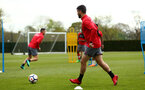 SOUTHAMPTON, ENGLAND - APRIL 24: Shane Long (right) during an open training session with Southampton FC at Staplewood Complex on April 24, 2018 in Southampton, England. (Photo by James Bridle - Southampton FC/Southampton FC via Getty Images)
