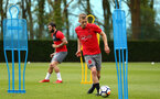 SOUTHAMPTON, ENGLAND - APRIL 24: James Ward-Prowse (right) during an open training session with Southampton FC at Staplewood Complex on April 24, 2018 in Southampton, England. (Photo by James Bridle - Southampton FC/Southampton FC via Getty Images)