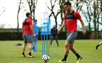 SOUTHAMPTON, ENGLAND - APRIL 24: Maya Yoshida (right) during an open training session with Southampton FC at Staplewood Complex on April 24, 2018 in Southampton, England. (Photo by James Bridle - Southampton FC/Southampton FC via Getty Images)