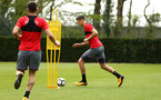 SOUTHAMPTON, ENGLAND - APRIL 24: Jan Bednarek (right) during an open training session with Southampton FC at Staplewood Complex on April 24, 2018 in Southampton, England. (Photo by James Bridle - Southampton FC/Southampton FC via Getty Images)