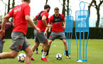 SOUTHAMPTON, ENGLAND - APRIL 24: LtoR James Ward-Prowse, Charlie Austin, Jan Bednarek during an open training session with Southampton FC at Staplewood Complex on April 24, 2018 in Southampton, England. (Photo by James Bridle - Southampton FC/Southampton FC via Getty Images)