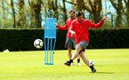 SOUTHAMPTON, ENGLAND - APRIL 26: Dusan Tadic (right) during a Southampton FC training session at Staplewood Complex on April 26, 2018 in Southampton, England. (Photo by James Bridle - Southampton FC/Southampton FC via Getty Images)