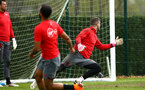 SOUTHAMPTON, ENGLAND - APRIL 26: LtoR Ryan Bertrand takes a shot at Fraser Forster during a Southampton FC training session at Staplewood Complex on April 26, 2018 in Southampton, England. (Photo by James Bridle - Southampton FC/Southampton FC via Getty Images)