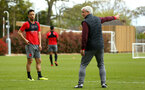 SOUTHAMPTON, ENGLAND - APRIL 26: LtoR Maya Yoshida, Mark Hughes during a Southampton FC training session at Staplewood Complex on April 26, 2018 in Southampton, England. (Photo by James Bridle - Southampton FC/Southampton FC via Getty Images)