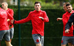 SOUTHAMPTON, ENGLAND - APRIL 26: Pierre-Emile H¿jbjerg during a Southampton FC training session at Staplewood Complex on April 26, 2018 in Southampton, England. (Photo by James Bridle - Southampton FC/Southampton FC via Getty Images) SOUTHAMPTON, ENGLAND - APRIL 26: Pierre-Emile Højbjerg during a Southampton FC training session at Staplewood Complex on April 26, 2018 in Southampton, England. (Photo by James Bridle - Southampton FC/Southampton FC via Getty Images)