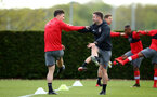 SOUTHAMPTON, ENGLAND - APRIL 26: LtoR Oriol Romeu, warms up with Alex Gross during a Southampton FC training session at Staplewood Complex on April 26, 2018 in Southampton, England. (Photo by James Bridle - Southampton FC/Southampton FC via Getty Images)