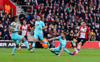 SOUTHAMPTON, ENGLAND - APRIL 28: Dusan Tadic(R) of Southampton scores his second of the game to make it 2-1 to Southampton during the Premier League match between Southampton and AFC Bournemouth at St Mary's Stadium on April 28, 2018 in Southampton, England. (Photo by Matt Watson/Southampton FC via Getty Images)