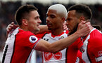 SOUTHAMPTON, ENGLAND - APRIL 28: Dusan Tadic(L), Mario Lemina(middle) and Ryan Bertrand(R) of Southampton during the Premier League match between Southampton and AFC Bournemouth at St Mary's Stadium on April 28, 2018 in Southampton, England. (Photo by Matt Watson/Southampton FC via Getty Images)