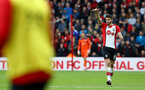 SOUTHAMPTON, ENGLAND - APRIL 28: Wesley Hoedt of Southampton FC gives the thumbs up (right) during the Premier League match between Southampton and AFC Bournemouth at St Mary's Stadium on April 28, 2018 in Southampton, England. (Photo by James Bridle - Southampton FC/Southampton FC via Getty Images)