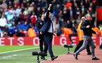 SOUTHAMPTON, ENGLAND - APRIL 28: Mark Hughes celebrates after the final whistle is blown during the Premier League match between Southampton and AFC Bournemouth at St Mary's Stadium on April 28, 2018 in Southampton, England. (Photo by James Bridle - Southampton FC/Southampton FC via Getty Images)