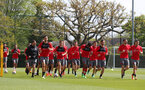 SOUTHAMPTON, ENGLAND - MAY 03: players warm up during a Southampton FC training session at the Staplewood Campus on May 3, 2018 in Southampton, England. (Photo by Matt Watson/Southampton FC via Getty Images)