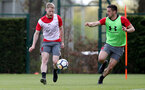 SOUTHAMPTON, ENGLAND - MAY 03: Josh Sims(L) and Dusan Tadic during a Southampton FC training session at the Staplewood Campus on May 3, 2018 in Southampton, England. (Photo by Matt Watson/Southampton FC via Getty Images)