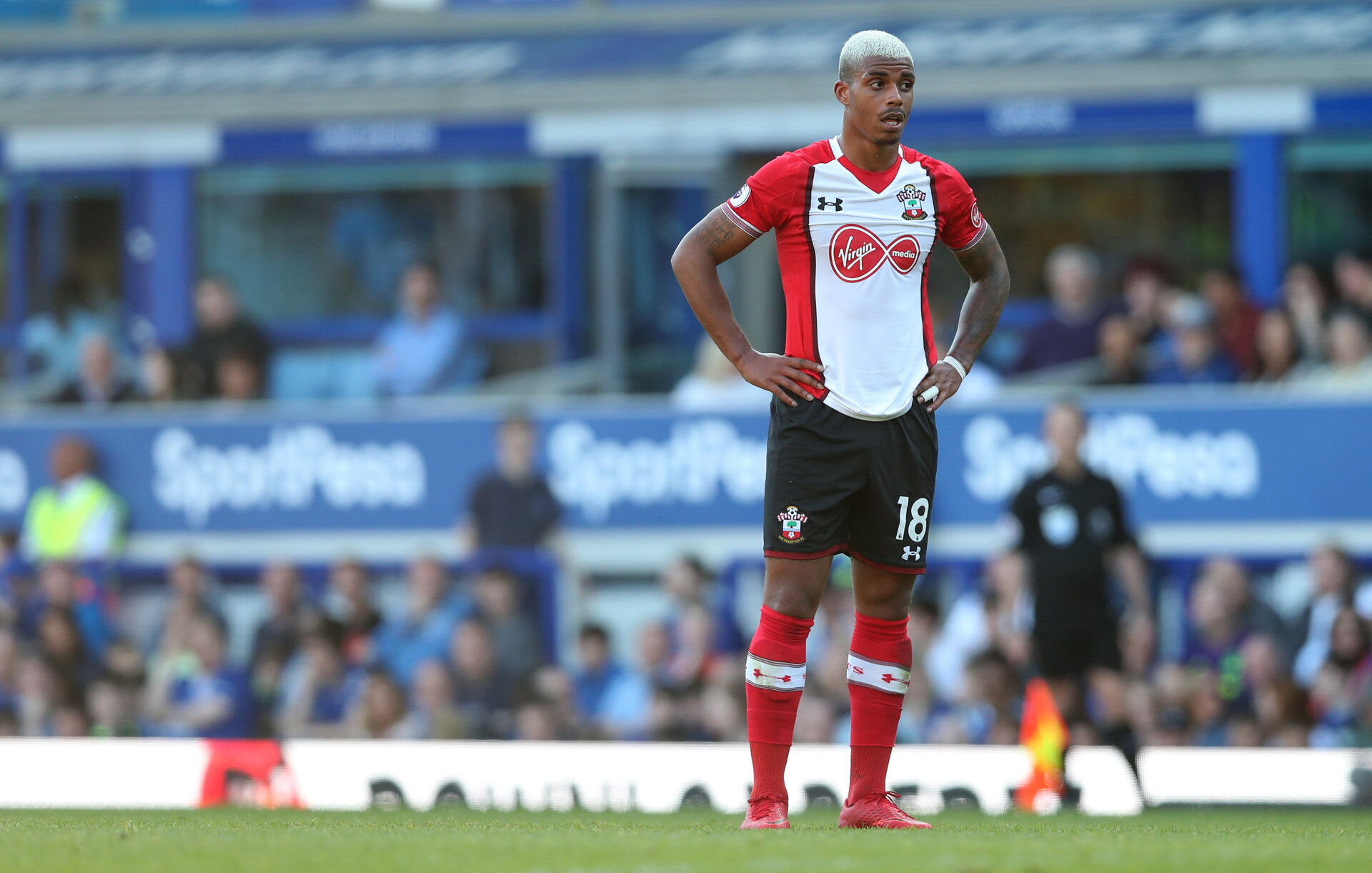 LIVERPOOL, ENGLAND - MAY 05: Mario Lemina of Southampton during the Premier League match between Everton and Southampton at Goodison Park on May 5, 2018 in Liverpool, England. (Photo by Matt Watson/Southampton FC via Getty Images)