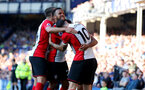 LIVERPOOL, ENGLAND - MAY 05:Southampton players celebrate Nathan Redmond's goal during the Premier League match between Everton and Southampton at Goodison Park on May 5, 2018 in Liverpool, England. (Photo by Matt Watson/Southampton FC via Getty Images)