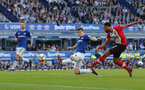 LIVERPOOL, ENGLAND - MAY 05: Nathan Redmond of Southampton shoots at goal during the Premier League match between Everton and Southampton at Goodison Park on May 5, 2018 in Liverpool, England. (Photo by Matt Watson/Southampton FC via Getty Images)