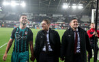 SWANSEA, WALES - MAY 08: L to R Shane Long, Steven Davis and Jeremy Pied of Southampton during the Premier League match between Swansea City and Southampton at Liberty Stadium on May 8, 2018 in Swansea, Wales. (Photo by Matt Watson/Southampton FC via Getty Images)