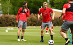 SOUTHAMPTON, ENGLAND - MAY 11: LtoR Manolo Gabbiadini, James Ward-Prowse, during a Southampton FC training session at Staplewood Complex on May 11, 2018 in Southampton, England. (Photo by James Bridle - Southampton FC/Southampton FC via Getty Images)