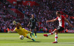 SOUTHAMPTON, ENGLAND - MAY 13: Dusan Tadic of Southampton shoots at goal during the Premier League match between Southampton and Manchester City at St Mary's Stadium on May 13, 2018 in Southampton, England. (Photo by Matt Watson/Southampton FC via Getty Images)