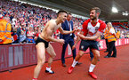 SOUTHAMPTON, ENGLAND - MAY 13: LtoR Dusan Tadic, Jack Stephens during the lap of appreciation after the Premier League match between Southampton and Manchester City at St Mary's Stadium on May 13, 2018 in Southampton, England. (Photo by James Bridle - Southampton FC/Southampton FC via Getty Images)