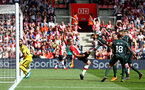 SOUTHAMPTON, ENGLAND - MAY 13: Oriol Romeu (middle) of Southampton attempts to knock the ball back towards Claudio Bravo (left) during the Premier League match between Southampton and Manchester City at St Mary's Stadium on May 13, 2018 in Southampton, England. (Photo by James Bridle - Southampton FC/Southampton FC via Getty Images)