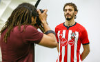 Behind the scenes as Southampton FC players model the new 2018/19 kits, at the Staplewood Campus, Southampton, BTS