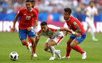 SAMARA, RUSSIA - JUNE 17:  Dusan Tadic of Serbia is challenged by Francisco Calvo of Costa Rica during the 2018 FIFA World Cup Russia group E match between Costa Rica and Serbia at Samara Arena on June 17, 2018 in Samara, Russia.  (Photo by Maddie Meyer/Getty Images)