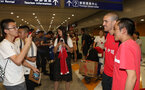 Southampton FC arrive at Shanghai airport, China, to begin their 2 week pre-season tour, manager Oriol Romeu with fans, 1st July 2018