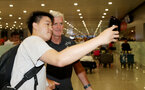Southampton FC arrive at Shanghai airport, China, to begin their 2 week pre-season tour, manager Mark Hughes with fans, 1st July 2018