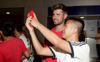 Southampton FC arrive at Shanghai airport, China, to begin their 2 week pre-season tour, Jack Stephens with fans, 1st July 2018