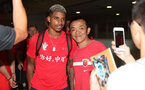 Southampton FC arrive at Shanghai airport, China, to begin their 2 week pre-season tour, Mario Lemina with fans, 1st July 2018