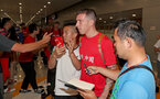 Southampton FC arrive at Shanghai airport, China, to begin their 2 week pre-season tour, Pierre-Emile Hojbjerg with fans, 1st July 2018