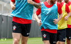 Callum Slattery(L) and Josh Sims during the first training session of Southampton FC's pre-season tour of China, at the Kunshan training facility, Kunshan, Shanghai, China, 2nd July 2018