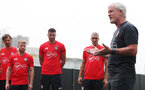 Mark Hughes speaks to his playera during the first training session of Southampton FC's pre-season tour of China, at the Kunshan training facility, Kunshan, Shanghai, China, 2nd July 2018