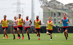 L to R, Manolo Gabbiadini, Oriol Romeu, Jack Stephens, Nathan Redmond, Ryan Bertrand, Harrison Reed and Sam Gallagher during the first training session of Southampton FC's pre-season tour of China, at the Kunshan training facility, Kunshan, Shanghai, China, 2nd July 2018