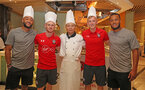 Southampton FC players L to R, Nathan Redmond, Harrison Reed, James Ward-Prowse and Ryan Bertrand, pictured with a local chef(centre), as they take part in a cooking challenge during their pre season trip, in Kunshan, China, 2nd July 2018