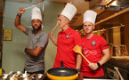 Southampton FC players L to R, Nathan Redmond, James Ward-Prowse and Harrison Reed take part in a cooking challenge during their pre season trip, in Kunshan, China, 2nd July 2018