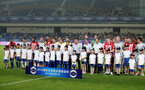 KUNSHAN, CHINA - JULY 05: The teams gather together during the pre season 2018 Clubs Super Cup match between Southampton FC and FC Schalke, at Kunshan Sports Center on July 5, 2018 in Kunshan, China. (Photo by Matt Watson/Southampton FC via Getty Images)