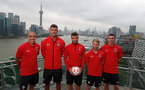 SHANGHAI, CHINA - JULY 06:L to R, Oriol Romeu, Fraser Forster, Sam McQueen, Josh Sims and Pierre-Emile Hojbjerg pictured on a rooftop terrace as Southampton FC players visit Shanghai centre while on their pre season tour of China, on July 6, 2018 in Shanghai, China. (Photo by Matt Watson/Southampton FC via Getty Images)
