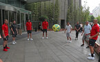 SHANGHAI, CHINA - JULY 06: Staff and players play an impromptu game of two touch as Southampton FC players visit Shanghai centre while on their pre season tour of China, on July 6, 2018 in Shanghai, China. (Photo by Matt Watson/Southampton FC via Getty Images)