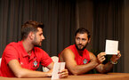 SHANGHAI, CHINA - JULY 09: Jack Stephens(L) and Charlie Austin take part in Chinese themed games while on their pre season tour of China, on July 9, 2018 in Xuzhou, China. (Photo by Matt Watson/Southampton FC via Getty Images)