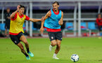 SHANGHAI, CHINA - JULY 09: Alfie Jones(L) and Manolo Gabbiadini during a Southampton FC training session, while on their pre season tour of China, on July 6, 2018 in Xuzhou, China. (Photo by Matt Watson/Southampton FC via Getty Images)