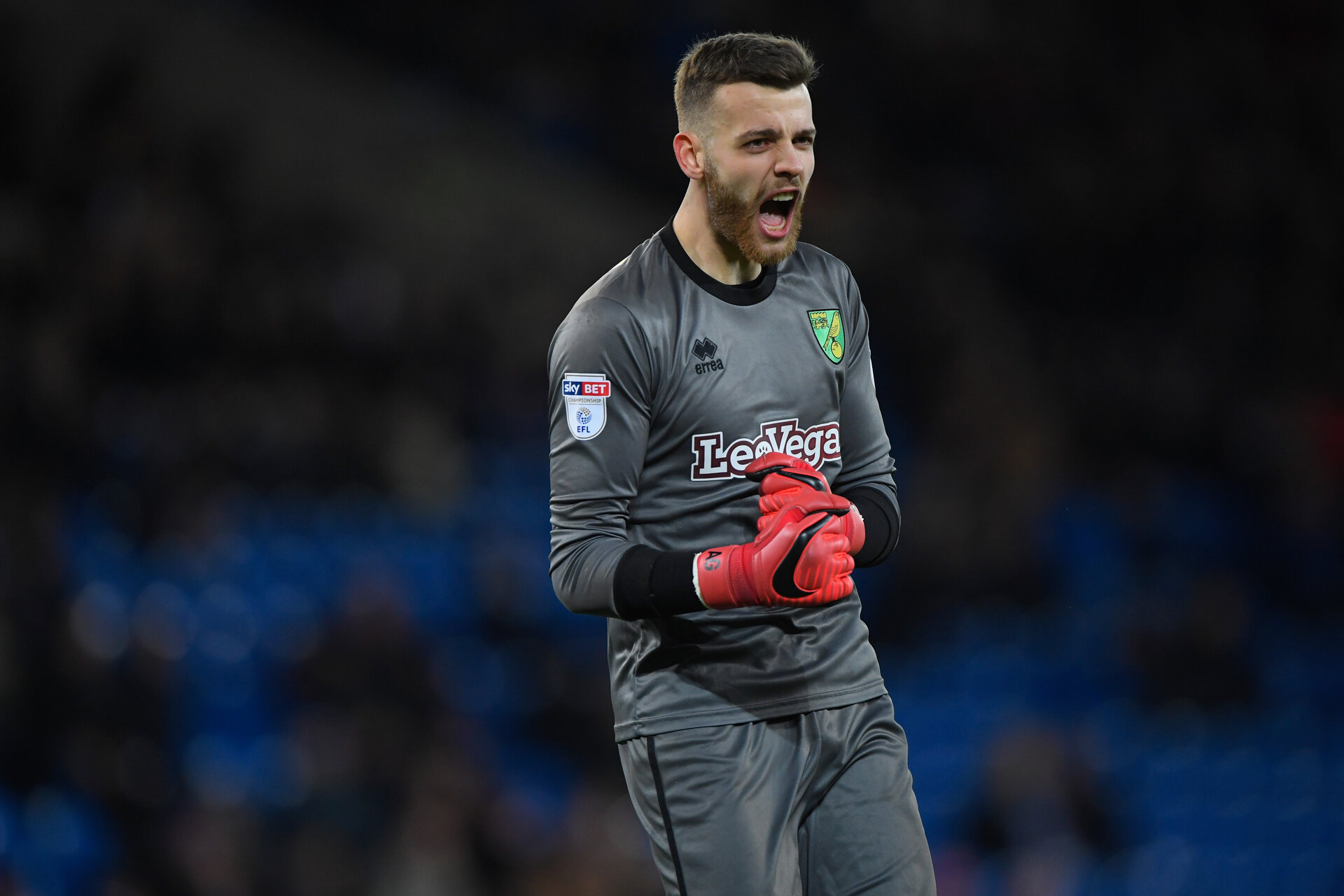 CARDIFF, WALES - DECEMBER 01:  Norwich keeper Angus Gunn reacts during the Sky Bet Championship match between Cardiff City and Norwich City at Cardiff City Stadium on December 1, 2017 in Cardiff, Wales.  (Photo by Stu Forster/Getty Images)
