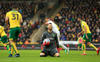 NORWICH, ENGLAND - APRIL 28:  Angus Gunn of Norwich City reacts during the Sky Bet Championship match between Norwich City and Leeds United at Carrow Road on April 28, 2018 in Norwich, England. (Photo by Stephen Pond/Getty Images)