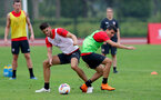SHANGHAI, CHINA - JULY 10: Wesley Hoedt(L) and Mohamed Elyounoussi during a Southampton FC training session, while on their pre season tour of China, on July 10, 2018 in Xuzhou, China. (Photo by Matt Watson/Southampton FC via Getty Images)