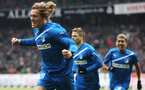 BREMEN, GERMANY - FEBRUARY 11: Jannik Vestergaard (L) of Hoffenheim celebrates after scoring his team's first goal during the Bundesliga match between SV Werder Bremen and 1899 Hoffenheim at Weser Stadium on February 11, 2012 in Bremen, Germany.  (Photo by Joern Pollex/Bongarts/Getty Images)