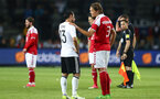 BRONDBY, DENMARK - JUNE 06: Lars Stindl (L) of Germany and Jannik Vestergaard of Denmark talk after the friendly match between Denmark v Germany on June 6, 2017 in Brondby, Denmark. (Photo by Martin Rose/Bongarts/Getty Images)