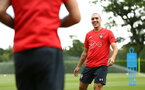 SOUTHAMPTON, ENGLAND - JULY 17: Oriol Romeu (right) during a Southampton FC training session at Staplewood Complex on July 17, 2018 in Southampton, England. (Photo by James Bridle - Southampton FC/Southampton FC via Getty Images)