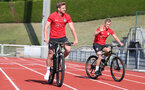 EVIAN-LES-BAINS, FRANCE - JULY 23: Stuart Armstrong(L) and James Ward-Prowse as Southampton FC take part in their first day of their pre-season training camp, on July 23, 2018 in Evian-les-Bains, France. (Photo by Matt Watson/Southampton FC via Getty Images)