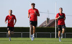 EVIAN-LES-BAINS, FRANCE - JULY 23: L to R Josh Sims(L), Sam Gallagher and Steven Davis as Southampton FC take part in their first day of their pre-season training camp, on July 23, 2018 in Evian-les-Bains, France. (Photo by Matt Watson/Southampton FC via Getty Images)