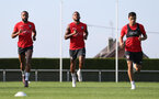 EVIAN-LES-BAINS, FRANCE - JULY 23: L to R, Nathan Redmond, Ryan Bertrand amd Mohamed Elyounoussi as Southampton FC take part in their first day of their pre-season training camp, on July 23, 2018 in Evian-les-Bains, France. (Photo by Matt Watson/Southampton FC via Getty Images)